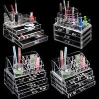 gavetas organizadoras venda por atacado-5 estilos Transparente Plástico Início gaveta de armazenamento do Desktop Box Organizer Acrílico claro maquiagem fazem Up Organizer para cosméticos
