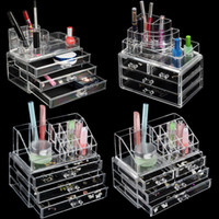 Wholesale acrylic clear makeup drawer organizer resale online - 5 styles Transparent Plastic Home Drawer Desk Desktop Storage Box Organiser Clear Acrylic Makeup Make Up Organizer For Cosmetic