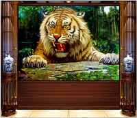 Wholesale mural painting wallpaper oil for sale - Group buy WDBH d wallpaper custom photo mural Empty mountain tiger oil painting tv background Home decor living room wallpaper for walls d
