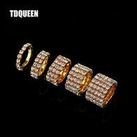 anel de banda de cristal de linha venda por atacado-Moda Jóias 1-5 Linhas ouro anéis coloridos nupcial Wedding Bands cristal Rhinestone estiramento anéis de dedo para as Mulheres