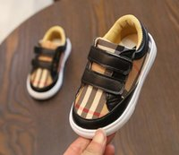 Wholesale kids white canvas shoe resale online - Infant Boy Stripe Sneakers Baby Toddler Girls First Walker Fashion Brand Non slip Outdoor Shoes For Kids Designer