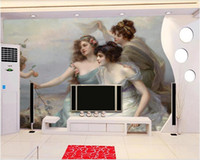 Wholesale oil wood art resale online - 3d room wallpaper custom photo mural European angel beauty nude oil painting background home decor wall art pictures wallpaper for walls d