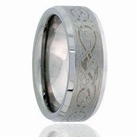 gravieren chinesisch großhandel-Cool Chinese Dragon Lasergravur Pinsel Wolfram Ring mit abgeschrägten Kanten Seiten Großhandel 8mm