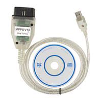 cabo usb ecu venda por atacado-SMPS MPPS V13.02 K + CAN OBD2 USB Cabo de Conector Do Carro Ferramenta ECU Para AUDI VW BMW Citroen