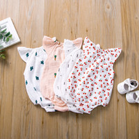 Wholesale summer cotton baby clothes for sale - Group buy 5 Colors Newborn Baby Romper Summer Jumpsuit Cherry Cactus Printed Infant Girl Princess Onesies Bodysuit Clothes New