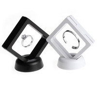 Wholesale jewellery ring display case online - White black Jewelry Ring Pendant Display Stand Suspended Floating Display Case Jewellery Coins Gems Artefacts Packing Boxes
