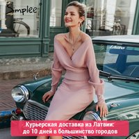 ingrosso maglioni rosa sexy-Simplee Sexy scollo a V donne tailleur in maglia autunno inverno manica a pipistrello 2 pezzi partito elegante femminile maglione vestito rosa