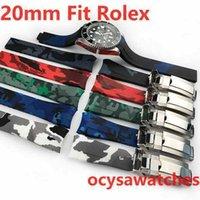 Wholesale watch band hidden clasp resale online - 20mm Gold Clasp Camouflage Rubber Strap SUB GMT Waterproof Band Watch Bands Watches Accessories Folding Buckle watchband