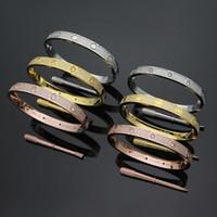 bracelets amis achat en gros de-Luxe 316L Titanium acier amour Bracelets Bracelets pour les femmes plein cz pierre bracelet puleiras Vis Tournevis bracelet hommes ami cadeau
