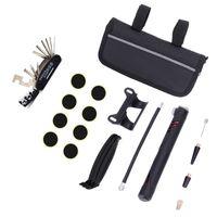 Wholesale portable bike pump for sale - Group buy Mountain Bike Puncture Repair Multi Function In Repairing Tool Suit Black Portable Practical Tyre Pump jkD1