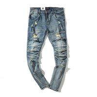 новые тенденции моды джинсы оптовых-Fashion Men Long Jeans High Street Hole Jeans Washed Rock Feet Men's Fashion New Trend