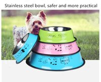 Wholesale pets painting for sale - Group buy Stainless steel pet bowl non slip anti fall cat and dog stainless steel drinking bowl spray paint English cartoon single bowl