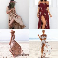 Wholesale opening breast dress resale online - Women Printing Dress Summer Beach Flower Skirt Breast Care Fork Opening Dresses Multi Size Colours Fashion Holiday oy D1