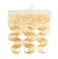 saç kapanış satışı toptan satış-8-20 Inç Sıcak Satış Doğal Pürüzsüz Yumuşak Yüksek Kaliteli Insan Vücudu Dalga Sarışın Bakire Saç Gerçek Saç Dantel Frontal Kapatma