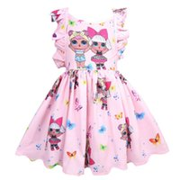 ingrosso abiti cosplay lolita-INS Sorpreso Baby Girls Summer Dress Flouncy Sleeveless Backless Skirt Flower Girls Cosplay Party Princess TUTU Abiti Cartoon Cloth A3154