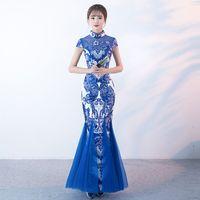 robes chinoises modernes achat en gros de-Bleu Blanc Porcelaine Traditionnelle Chinoise Robe De Soirée De Mode Sirène Longue Moderne Qipao Cheongsam Robes Orientales Sur Mesure