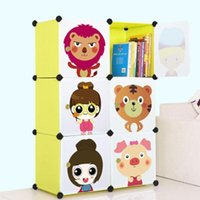 Wholesale 2018 DIY cartoon kids wardrobe child hanging clothes wardrobe self combine simple cabinet bedroom storage box