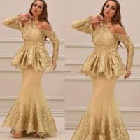 vestidos formais estilo peplum venda por atacado-2020 árabe halter novo estilo mangas compridas rendas vestidos de noite com peplum applique tule sereia festa de formatura vestidos de baile