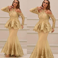 vestidos formales peplum al por mayor-Vestidos de noche de encaje de manga larga de halter árabe 2020 nuevo estilo con apliques de peplum Vestidos formales de fiesta de graduación de sirena de tul