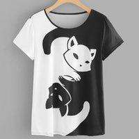 ingrosso magliette felpe delle donne in gatto-2019 Nuove donne Cat Stampa corta Felpa Pullover Top T-Shirt Estate manica corta T-shirt femminile stile coreanoZ0307