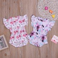 ingrosso fiore zebra-Summer Baby abbigliamento per bambini 2 colori Casual Manica volante Fiore Pagliaccetto Tute Baby crawling vestiti per bambini abiti firmati ragazze JY412-U