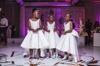 ingrosso abito bianco da sposa t indietro-Abito da ragazza di fiore in pizzo bianco carino africano Vestito da cerimonia nuziale da sera lungo abito da cerimonia di gala
