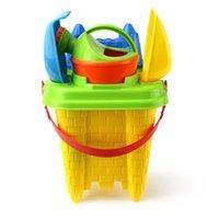 oyuncak plastik alet takımları toptan satış-Rastgele Renk 6 Adet / takım Plaj Oyuncak Seti Kale Kova Kürek Çocuk Güvenliği Plastik Fantezi Oyuncaklar Maça Kürek Tırmık Su Araçları Set