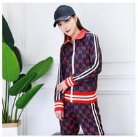 zweiteilige strickjacke großhandel-Monogramm Jacquard Dash Farbe Anzug mit Reißverschluss Strickjacke Jacke + Bleistift Hose Strickwaren Zweiteiler Full Gg