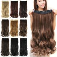 ingrosso qualità regina brasiliana-60cm clip sintetica dei capelli nell'estensione dei capelli termoresistenti Pezzo Hairpiece naturale Capelli mossi