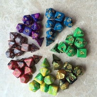 ingrosso il poker dei dadi-7pcs / Set acrilico Polyhedral Dice per TRPG Gioco MTG Dungeons and Dragons Poker Multi-Color Table digitale Gioco Dadi Accessori M510Y
