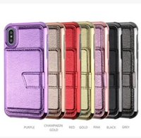 Wholesale card holder mirror online – custom Hybrid Wallet Mirror Case PU Leather Shockproof Back Cover Pouch With Card Slot stand holder For Iphone X XS Max XR plus S10 S10e plus