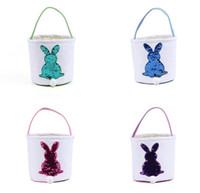 Wholesale bunny basket resale online - Sequin Easter Bunny Baskets Cartoon Rabbit Handbags Tote Bag Canvas Bunny Printed Storage Bag Easter Kids Gift Bag