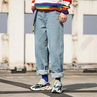 ingrosso pantaloni lunghi sciolti-Jeans larghi da uomo di marca Jeans hip-hop da uomo di grandi dimensioni Jeans larghi alla moda rilassati Jeans aderenti da uomo