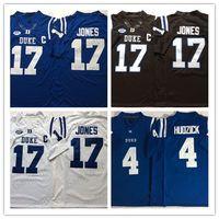 futebol da faculdade eua venda por atacado-Duke Blue Devils 17 Daniel Jones 4 Myles Hudzick Futebol 2019 NCAA faculdade usa MENS Jersey americano College Football Wear