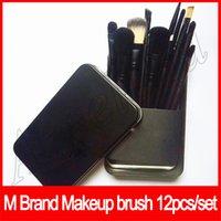 cepillos profesionales 12 pzas. al por mayor-Herramientas de maquillaje M Brand 12 Pcs Set de pinceles de maquillaje Belleza de viaje Profesional Base Labios Sombra de ojos Cosméticos Pincel de maquillaje