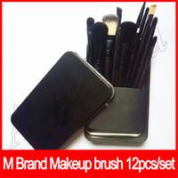 kosmetik make-up pinsel reise gesetzt großhandel-Makeup Tools M Marke 12 Stücke Make-Up Pinsel Set Kit Reise Schönheit Professionelle Foundation Lippen lidschatten Kosmetik Make-Up Pinsel