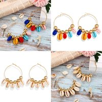 Wholesale circle shell beads for jewelry resale online - Bohemian Shell Tassel Earrings for Women Girls Circle Statement Earrings Handmade Beads Ear Studs Beach Jewelry Gift