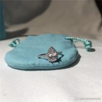 birnenringe großhandel-T Soleste Birnenform Ringe Luxus Diamant Ring Liebe berühmte Marke Designer Schmuck 925 Sterling Silber Verlobung Ehering vorhanden