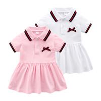 bebek kızları için rahat kıyafetler toptan satış-Yüksek kaliteli Küçük Bebek kız Katı renk Mektup elbiseler Bebek bebekler yaz gündelik elbise Bebek giysileri