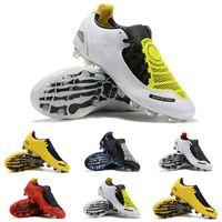 tacos de fútbol amarillo al por mayor-Calidad superior 2019 Barato Hombres Original Total 90 Laser I SE FG Zapatos de fútbol Negro Amarillo Deportes Moda Fútbol Cleats Envío rápido Tamaño 35-45