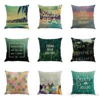 Wholesale pillowcase green resale online - Green forest Summer beach theme Linen pillow case sofa cushion cover Home office pillowcase cm DH12