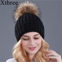 2fc384dc8b3 Xthree mink and fox fur ball cap pom poms winter hat for women girl  s hat  knitted beanies cap brand new thick female cap S18120302