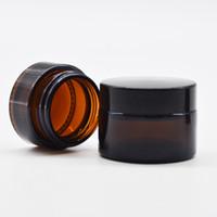 doldurulabilir makyaj kavanozu toptan satış-Amber Cam Kozmetik Krem Şişeler Kavanoz Pot Cilt Bakım Kremi Doldurulabilir Şişe Yuvarlak Kavanoz Şişe Makyaj Aracı için Yüz El Vücut
