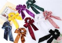 kadife papyon kravat toptan satış-Kadınlar Bow Kravatlar at kuyruğu Tutucu Aksesuarları dc369 için Sevimli Kız Saç Halat Kadife Scrunchies ilmek Elastik Saç Bantları