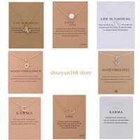 Wholesale lucky alloys resale online - Unicorn Pendant Necklaces Chokers Double Circle Sun Pearl Charms Choker Statement Necklace with Card for Women Girls Lucky Jewelry Gift