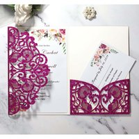 Wholesale black back housing online – custom Purple Glitter Laser Cut Wedding Invitation Cards DIY Pocket Invitations for Quinceanera Sprinkle Greeting Cards Sweet Invites w Envelope