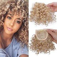chignons toptan satış-613 İnsan Afro Kinky Kıvırcık Saç Patlama Olabilir Saç Kapatma Chignons Puf İpli At Kuyruğu Saç Uzatma Siyah Kadınlar için