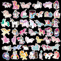 Wholesale wall posters for kids resale online - Unicorn Stickers Poster Wall Sticker for Rooms Home Laptop Skateboard Lage Car Kids DIY Cartoon Sticker Set GGA1624