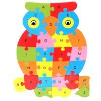 harfler ahşap yapboz toptan satış-İki Taraflı Bulmaca Bebek Oyuncakları 26 Mektuplar Biliş Yapı Taşları Ahşap Ebeveynlik Oyuncak Erken Eğitim Bebek Bebekler 2 8ts N1