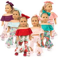 amerikan kız bebek 18 inç toptan satış-Kapalı Omuz Bezi Çan Dipli Pantolon Saç Bandı Setleri Kıyafet Suit için 18 Inç Bebek Giysileri Amerikan Kız Bebek